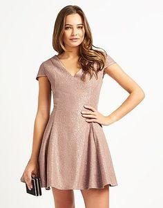Buy Glamorous V neck Skater Dress from the Next UK online shop Pink Beige, Summer Colors, Lipsy, Skater Dress, Pink Ladies, Glamour, V Neck, Clothes For Women, Stuff To Buy