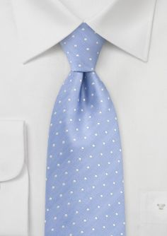 Dusty Blue and Silver Polka Dot Tie. So charming. #bowsnties Getting tie ideas for the boys. I like the idea of miss-matched ties in the same colour.