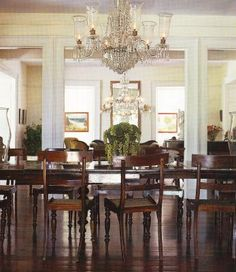 Dining Room Designs, Traditional Dining Room Design With Classic Furniture : Beautiful Chandelier Dark Wooden Floor Traditional Dining Room Design, Wooden Floor Dining Room Wall Decor, Dining Room Design, Dining Rooms, Dining Table, Dining Sets, Patio Dining, Dining Chairs, Barbados, Dark Wooden Floor