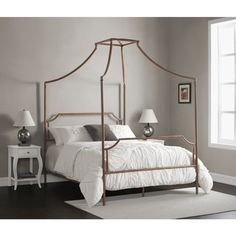 Bailey Brushed Copper Full-size Canopy Bed - 80008380 - Overstock - Great Deals on I Love Living Beds - Mobile