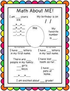 ALL ABOUT ME MATH - This is really cute! If mine was younger Id snatch ...