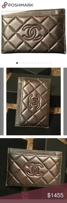 Authentic CHANEL Wallet / card case Stunning Rare pewter color CC logo leather card holder. Comes in org CHANEL Box with tags dust bag & Authenticity card!! Ships ASAP! Like new condition used once. Gorgeous silver gray color! Many card slots & space. Holds a ton. Good condition no damage. Pet free smoke free home. Make an offer using OFFER BUTTON🎉 no low ball offers please!!!❌no trades❌no pp❌ serious buyers only Please😊 any question ? Thanks for checking out my closet. Ask me about bundle…