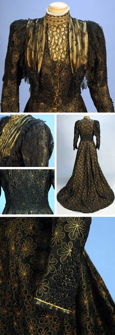 High-necked gown, House of Worth, ca. 1895. One-piece black satin brocaded with black and pale gold leaves. Boned bodice, front self-buttons, gigot sleeves, black beadwork. Bodice insert of openwork metallic gold flanked by embroidered net. Hem of dagger points lined in black silk faille, hidden back pocket, train. Whitaker Auctions