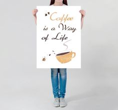 Visit my Shop to use this coupon code for 20% off: XMAS16 --- Until 7th December 2016. --- LARGE wall ART Coffee quote motivational quote cup of coffee illustration funny Typography poster coffee addict huge coffee decor by DrawingIllustration