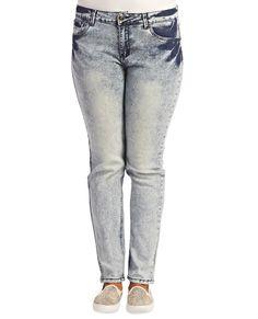 Acid Wash Skinny Jeans  | Wet Seal Plus #plussize #plussizefashion #curvy #denim