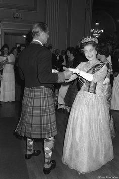 Happy Burns Night! This photograph shows The Queen & The Duke of Edinburgh dancing an eightsome reel in Edinburgh. #BurnsNight2018