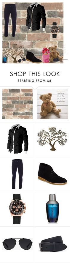 """Man"" by martinapetkovic ❤ liked on Polyvore featuring Wall Pops!, Chanel, DutchCrafters, Levi's, Clarks, Rolex, HUGO, Bally, Lacoste and men's fashion"