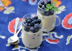 Dessert Recipe: Rosewater Yogurt Panna Cotta with Blueberries — Recipes from The Kitchn  I made this after Thanksgiving to use up some left over whipping cream and it turned out AMAZING! Will definitely try again and next time add strawberries. Yummy!!!