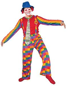 Laughing Clown (Adult)- X-Large. ► Made with 100% Polyester Featuring: resistant to most chemicals, stretching and shrinking, wrinkle resistant, mildew and abrasion resistant. ► Pants feature and elastic waistband for comfortable fit with attached suspenders for the traditional look. ► Product Includes: shirt, pants and hat. ► Pullover has multi colored striped sleeves with an attached colorful necktie. ► Wide brim blue floppy hat features red hair on both sides near the ears.
