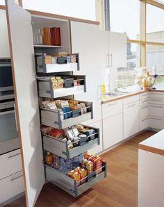 modern kitchen design ideas, furniture and kitchen accessories Kitchen Pantry Design, New Kitchen Designs, Luxury Kitchen Design, Kitchen Cupboards, Interior Design Kitchen, Diy Kitchen, Kitchen Storage, Kitchen Modern, Pantry Storage