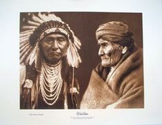 """Original Collage of Images by Edward Curtis """"Chiefs Joseph and Geronimo"""""""
