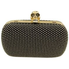 Pre-owned Alexander Mcqueen Black Clutch ($1,892) ❤ liked on Polyvore featuring bags, handbags, clutches, black, box clutch, studded purse, black skull handbag, black handbags and black clutches