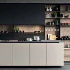 44 Inspiring Design Ideas for Modern Kitchen Cabinets - The Trending House Modern Kitchen Cabinets, Modern Kitchen Design, Kitchen Interior, Kitchen Decor, Interior Livingroom, Interior Plants, Kitchen Hacks, Kitchen Ideas, Kitchen Living