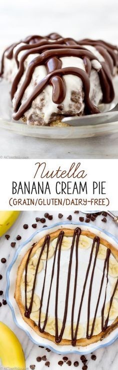 Healthier Nutella Banana Cream Pie (grain-free, gluten-free, dairy-free)