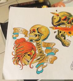 Skull tattoo designs. Prisma Color pencil drawings.
