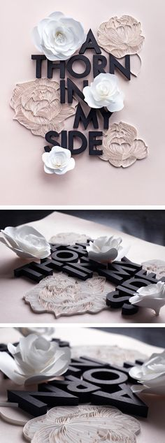 Lavanya Naidoo Handcrafted Floral Typography Created Entirely Out of Paper Font Design, Poster Design, Graphic Design Typography, Design Art, Web Design, Japanese Typography, Typography Poster, Type Design, Interior Design