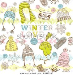 stock vector : Winter seamless pattern with hats, mittens