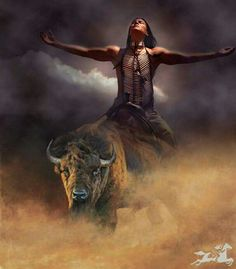 Native American on Buffalo Native American on Buffalo Native American Prayers, Native American Warrior, Native American Wisdom, Native American Beauty, American Indian Art, Native American History, American Symbols, Native American Paintings, Native American Pictures