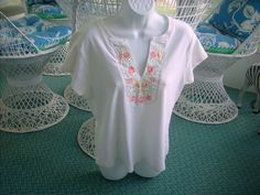 Really Cute Covington XL Embroided White Pink Floral 100% Pure Cotton Top #Covington #TeeShirt #Casual