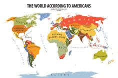 """World According to the United States of America    Graphic designer Yanko Tsvetkov has created a fun set of maps revealing what he terms """"the geography of prejudice"""