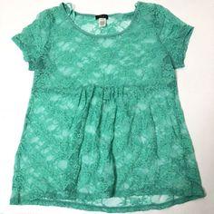 36d05022ca093f Women's Plus Size 2X Deb Mint Floral Print Stretch Sheer Empire Babydoll  Top #Deb #