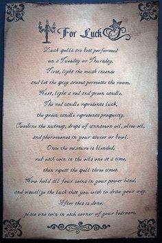 Book of Shadows: Luck Spell. Wiccan Spell Book, Witch Spell, Spell Books, Wicca Witchcraft, Magick Spells, Wiccan Art, Moon Spells, Wiccan Symbols, Wiccan Witch