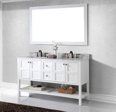 $1969 from listvanities Avola 60 inch Transitional Double Sink Bathroom Vanity White Finish