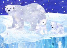 POLAR BEARS on Ice Let it snowLet it snowLet it by tornpaperco