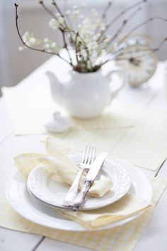 White yellow tartan table napkins set 6 Linen gingham spring