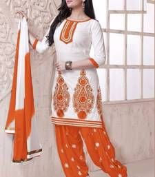 Buy Fashionable Orange And White Patiala Cotton Dress Materiall M1001-C…
