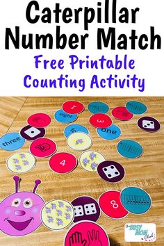 Free printable Caterpillar Number Match is a fun, hands-on way for preschoolers and kindergartners to practice counting and number representation. Low-prep and several ways to play makes this a great activity for classroom centers and homeschoolers alike. Educational Activities For Kids, Counting Activities, Preschool Lessons, Preschool Learning, Preschool Activities, Kindergarten Counting, Teaching, Homeschool Math, Curriculum