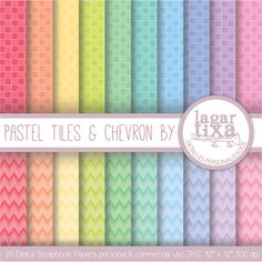 Digital Paper Pastel Pool Tiles & Chevron Background Patterns pink  yellow blue green purple pale teal invitations baby shower scrapbooking