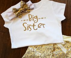 Big Sister Big Sister Shirt Big Sister Glitter by PurpleAspen Glitter Shirt, Gold Glitter, Big Sister Big Brother Shirts, Personalized Shirts, Girls Bows, Headband Hairstyles, Long Sleeve Shirts, Shopping, Clothes