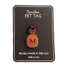 Pet Tag - Wood Monogram Dog tag - Pineapple  #wooddogtag #dogtag #keychain
