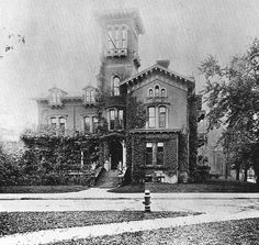 John J Bagley house 1869    The house stood at the corner of Washington and Park, where the Statler Hotel used to stand. This house had the first examples of plate glass used in Michigan.    This image is no. 71 from Buildings of Detroit, by W. Hawkins Ferry.