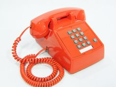 want this!  Vintage Phone tangerine orange push button telephone by ohiopicker, $68.00