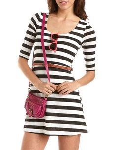 Belted Hacci A-Line Dress: Charlotte Russe