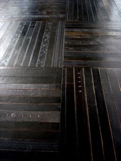 Leather flooring made from recycled belts.