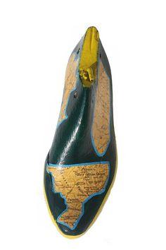 Brazil decoupageshoe last woodpaint on woodcobbler shoe