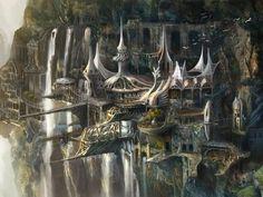 Elves and humans reside in this metropolis on a cliffside Fantasy city Fantasy castle Fantasy artwork