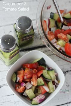 Cucumber Tomato Salad cucumber, tomatos, red onion, oil, vinegar, salt, pepper love these flavors all together!