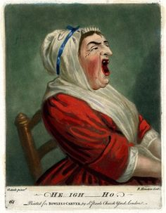 A woman shown half-length in profile to right, yawning broadly, her hands in her lap, wearing a white bonnet and scarf crossed over her breast; after Ostade. Hand-coloured mezzotint