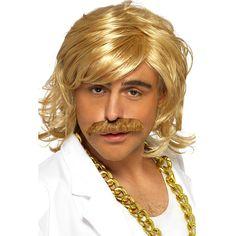 Perruque et moustache de star du dancefloor : manooba, achat de Deguisements adultes