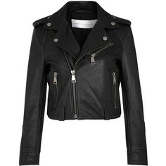 Womens Leather Jackets Victoria, Victoria Beckham Black Cropped... ($1,450) ❤ liked on Polyvore featuring outerwear, jackets, moto jacket, cropped biker jacket, cropped leather jacket, cropped motorcycle jacket and real leather jacket