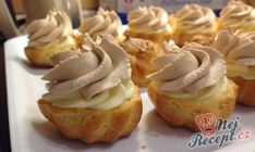 Easy Cake : Cream puff with caramel cream filling, Cream Puff Filling, Hungarian Desserts, Easy Cake Decorating, Biscuits, Mini Cupcakes, Cake Recipes, Deserts, Muffin, Food And Drink