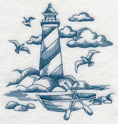 A light and lovely toile lighthouse is perfect for stitching on smooth, neutral fabrics.