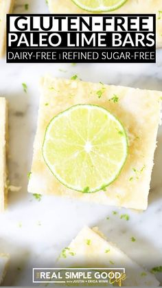 These simple and refreshing Paleo Lime Bars are the perfect healthy sweet pick-me-up for hot summer days we've been having! They are even gluten-free, dairy-free and also refined sugar-free. And it gets even better because we added a gut healing ingredient, too! We used gelatin in these lime bars and played with the amount to create a semi-solid/semi-creamy lime filling for the bars. | @realsimplegood #easysummerpaleodesserts #july4thpaleodesserts #sugarfreesummerdessert #howtomakelimebars Best Paleo Recipes, Sugar Free Recipes, Low Carb Recipes, Whole Food Recipes, Easy Recipes, Paleo Dessert, Healthy Dessert Recipes, Healthy Comfort Food, Healthy Eats