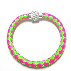 Pink green braided bracelet magnetic crystal clasp Pink and green braided bracelet with magnetic crystal clasp 7 3/4 inches long Jewelry Bracelets