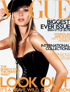 September 2001 Gisele Bundchen wears corset dress, from £415, at Dolce & Gabbana. Breton cap, by Margaret Howell, £45, at Harvey Nichols and Selfridges. All make-up by Lancome. Hair: Ward for Bumble & BUmble, NYC. Make-up: Kay Montano. Nails: Bernadette Thompson. Fashion editor: Kate Phelan. Photography Richard Burbridge.