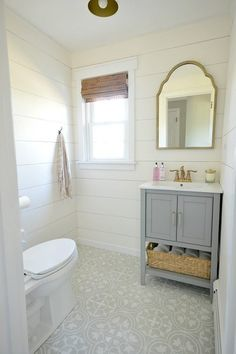 gray cement tile - shiplap walls - Modern Farmhouse Powder Room
